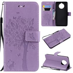 Embossing Butterfly Tree Leather Wallet Case for Nokia 9 PureView - Violet