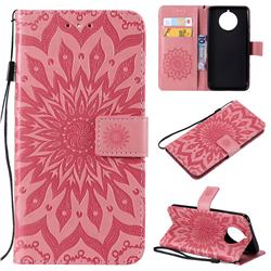 Embossing Sunflower Leather Wallet Case for Nokia 9 PureView - Pink