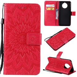 Embossing Sunflower Leather Wallet Case for Nokia 9 PureView - Red