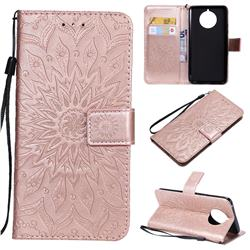 Embossing Sunflower Leather Wallet Case for Nokia 9 PureView - Rose Gold