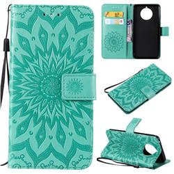 Embossing Sunflower Leather Wallet Case for Nokia 9 PureView - Green