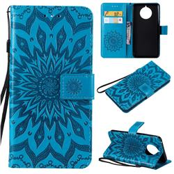 Embossing Sunflower Leather Wallet Case for Nokia 9 PureView - Blue