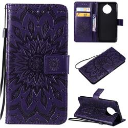 Embossing Sunflower Leather Wallet Case for Nokia 9 PureView - Purple