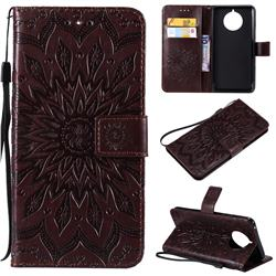 Embossing Sunflower Leather Wallet Case for Nokia 9 PureView - Brown