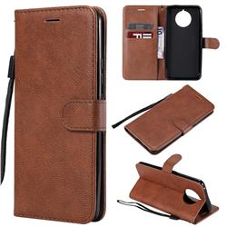 Retro Greek Classic Smooth PU Leather Wallet Phone Case for Nokia 9 PureView - Brown