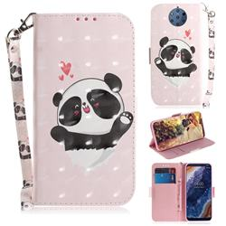 Heart Cat 3D Painted Leather Wallet Phone Case for Nokia 9 PureView
