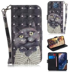 Cat Embrace 3D Painted Leather Wallet Phone Case for Nokia 9 PureView
