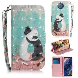 Black and White Cat 3D Painted Leather Wallet Phone Case for Nokia 9 PureView