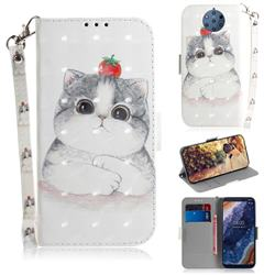 Cute Tomato Cat 3D Painted Leather Wallet Phone Case for Nokia 9 PureView
