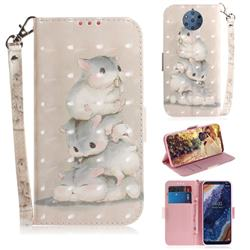 Three Squirrels 3D Painted Leather Wallet Phone Case for Nokia 9 PureView