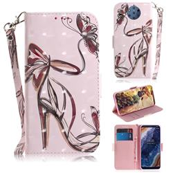 Butterfly High Heels 3D Painted Leather Wallet Phone Case for Nokia 9 PureView