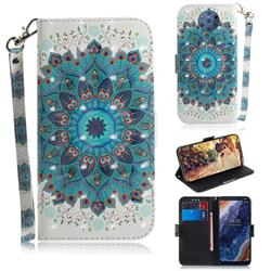 Peacock Mandala 3D Painted Leather Wallet Phone Case for Nokia 9 PureView