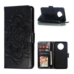 Intricate Embossing Datura Solar Leather Wallet Case for Nokia 9 PureView - Black