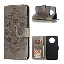 Intricate Embossing Datura Solar Leather Wallet Case for Nokia 9 PureView - Gray
