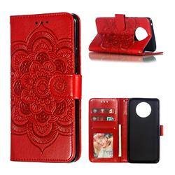 Intricate Embossing Datura Solar Leather Wallet Case for Nokia 9 PureView - Red