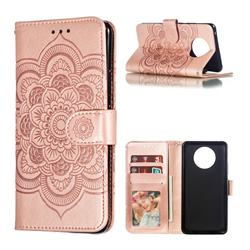 Intricate Embossing Datura Solar Leather Wallet Case for Nokia 9 PureView - Rose Gold
