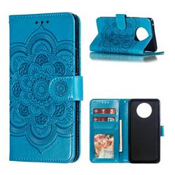Intricate Embossing Datura Solar Leather Wallet Case for Nokia 9 PureView - Blue