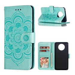 Intricate Embossing Datura Solar Leather Wallet Case for Nokia 9 PureView - Green