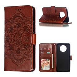 Intricate Embossing Datura Solar Leather Wallet Case for Nokia 9 PureView - Brown