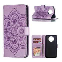 Intricate Embossing Datura Solar Leather Wallet Case for Nokia 9 PureView - Purple