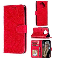 Intricate Embossing Lace Jasmine Flower Leather Wallet Case for Nokia 9 PureView - Red