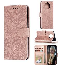 Intricate Embossing Lace Jasmine Flower Leather Wallet Case for Nokia 9 PureView - Rose Gold