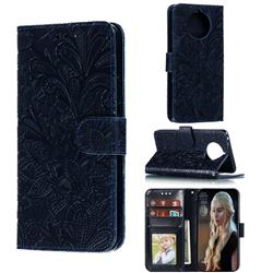 Intricate Embossing Lace Jasmine Flower Leather Wallet Case for Nokia 9 PureView - Dark Blue
