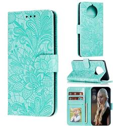 Intricate Embossing Lace Jasmine Flower Leather Wallet Case for Nokia 9 PureView - Green