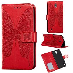 Intricate Embossing Vivid Butterfly Leather Wallet Case for Nokia C1 - Red
