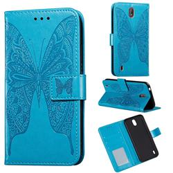 Intricate Embossing Vivid Butterfly Leather Wallet Case for Nokia C1 - Blue