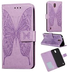 Intricate Embossing Vivid Butterfly Leather Wallet Case for Nokia C1 - Purple