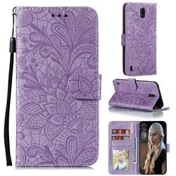 Intricate Embossing Lace Jasmine Flower Leather Wallet Case for Nokia C1 - Purple
