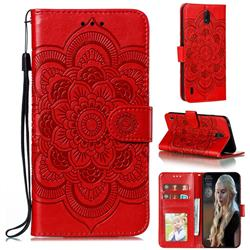 Intricate Embossing Datura Solar Leather Wallet Case for Nokia C1 - Red