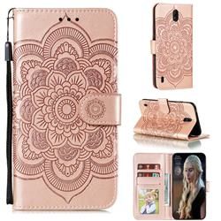 Intricate Embossing Datura Solar Leather Wallet Case for Nokia C1 - Rose Gold