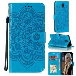 Intricate Embossing Datura Solar Leather Wallet Case for Nokia C1 - Blue