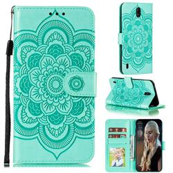 Intricate Embossing Datura Solar Leather Wallet Case for Nokia C1 - Green