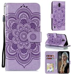 Intricate Embossing Datura Solar Leather Wallet Case for Nokia C1 - Purple