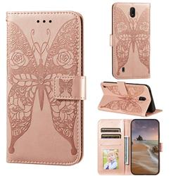 Intricate Embossing Rose Flower Butterfly Leather Wallet Case for Nokia C1 - Rose Gold