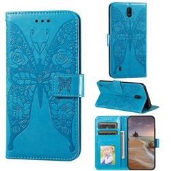 Intricate Embossing Rose Flower Butterfly Leather Wallet Case for Nokia C1 - Blue