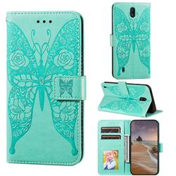 Intricate Embossing Rose Flower Butterfly Leather Wallet Case for Nokia C1 - Green