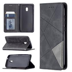Prismatic Slim Magnetic Sucking Stitching Wallet Flip Cover for Nokia C1 Plus - Black