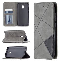 Prismatic Slim Magnetic Sucking Stitching Wallet Flip Cover for Nokia C1 Plus - Gray