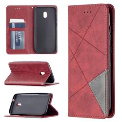 Prismatic Slim Magnetic Sucking Stitching Wallet Flip Cover for Nokia C1 Plus - Red