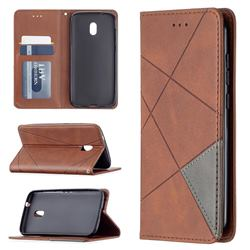 Prismatic Slim Magnetic Sucking Stitching Wallet Flip Cover for Nokia C1 Plus - Brown