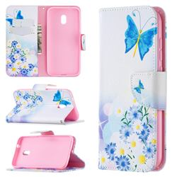 Butterflies Flowers Leather Wallet Case for Nokia C1 Plus