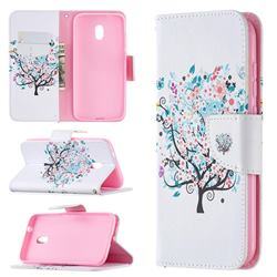 Colorful Tree Leather Wallet Case for Nokia C1 Plus