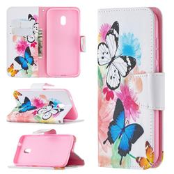 Vivid Flying Butterflies Leather Wallet Case for Nokia C1 Plus