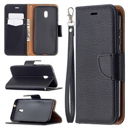 Classic Luxury Litchi Leather Phone Wallet Case for Nokia C1 Plus - Black