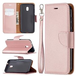 Classic Luxury Litchi Leather Phone Wallet Case for Nokia C1 Plus - Golden