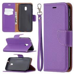 Classic Luxury Litchi Leather Phone Wallet Case for Nokia C1 Plus - Purple